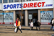 SportsDirect.com sale. High street shops and shopping,  January 2009, Lowestoft, Suffolk, England