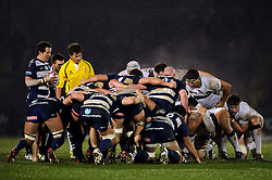 A scrum is formed during the first half of the match - Photo mandatory by-line: Rogan Thomson/JMP - Tel: Mobile: 07966 386802 25/01/2013 - SPORT - RUGBY - Memorial Stadium - Bristol. Bristol v Leeds Carnegie - RFU Championship.