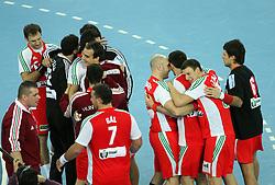 Hungary celebrates 21st Men's World Handball Championship 2009 Main round Group I match between National teams of Hungary and South Korea, on January 27, 2009, in Arena Zagreb, Zagreb, Croatia.  (Photo by Vid Ponikvar / Sportida)