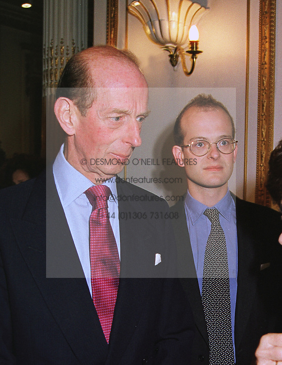 Left to right, HRH The DUKE OF KENT and his son LORD NICHOLAS WINDSOR, at an exhibition in London on 10th June 1999.MTB 46
