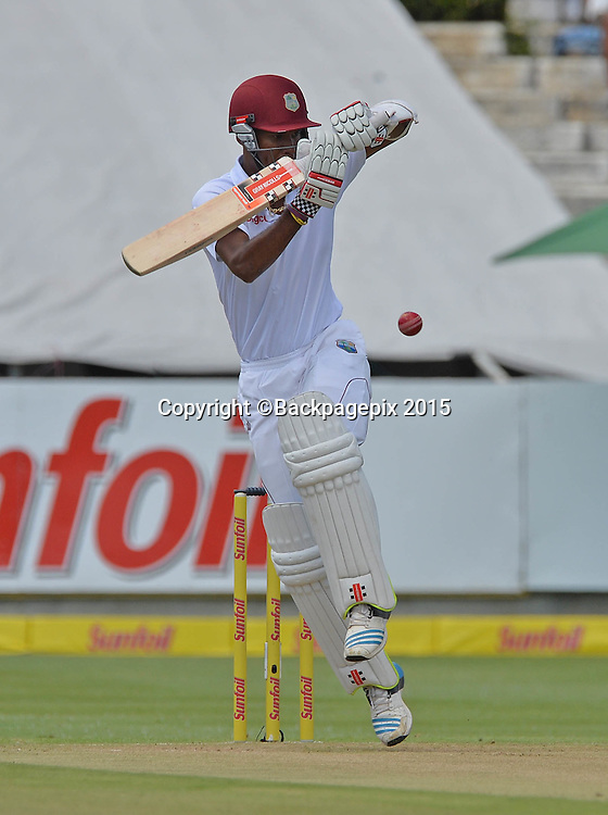 Kraigg Brathwaite of the West Indies during Day 1 of the 2015 Sunfoil Test Series Cricket Match between South Africa and the West Indies at Newlands Stadium, Cape Town on 2 January 2015 ©Chris Ricco/BackpagePix