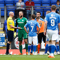 St Johnstone v Dundee United...26.09.15  SPFL   McDiarmid Park, Perth<br /> Referee Bobby Madden talks to Alan Mannus after sending him off<br /> Picture by Graeme Hart.<br /> Copyright Perthshire Picture Agency<br /> Tel: 01738 623350  Mobile: 07990 594431
