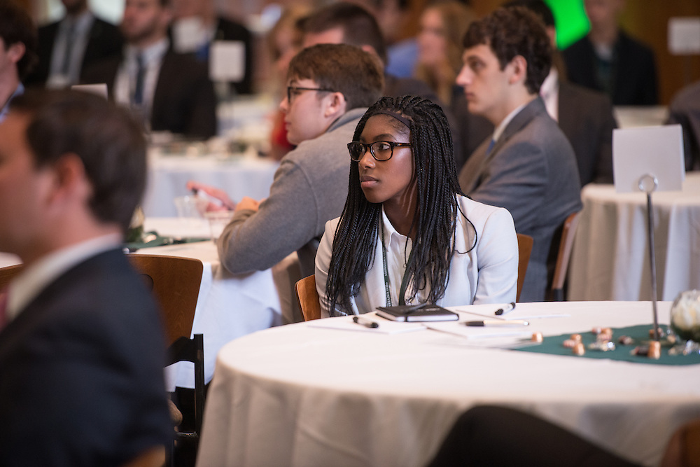 Jamilah Ali, Ohio University College of Business graduate student, attends the Darren Butler Sports Forum in Walter Rotunda on Friday, October 14, 2016.