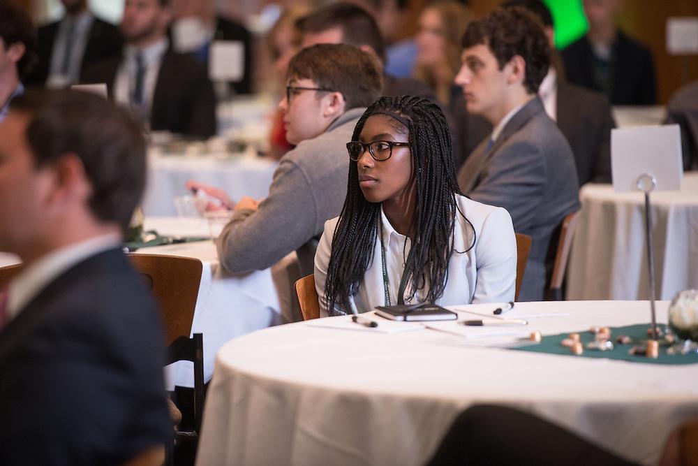 Jamilah Ali, Ohio University College of Business graduate student, attends the Darren Butler Sports Forum in Walter Rotunda on Friday, October 14, 2016.