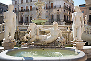 Famous Pretoria Fountain ( Fontana Pretoria ), marble statues and water feature in Piazza Pretonra in centre of Palermo, Sicily, Italy