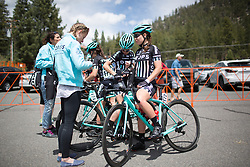 Drops Cycling Team riders catch their breath after finishing the first, 117 km road race stage of the Amgen Tour of California - a stage race in California, United States on May 19, 2016 in South Lake Tahoe, CA.