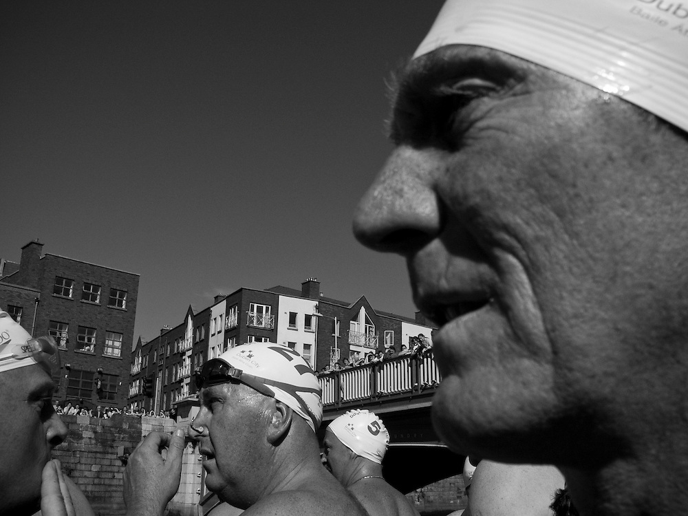Competitors preparing to for the 2004 Liffey Swim, Dublin, Ireland, September 2004.