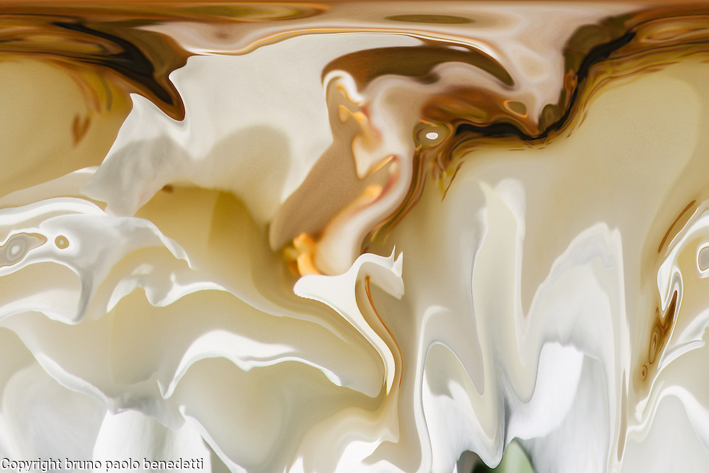 abstract white fluid floating shapes with brown shades on dark white background in acquerello texture