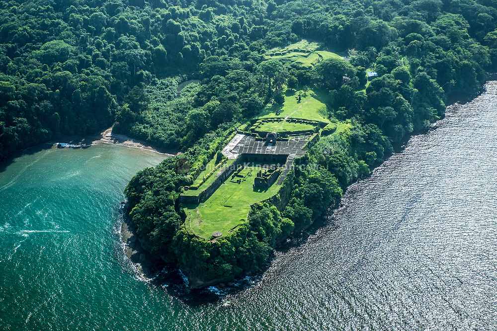 Aerial view of Fort San Lorenzo, Colon, Panama.