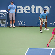 August 21, 2014, New Haven, CT:<br /> Petra Kvitova gets ready during a match against Barbora Zahlavova Strycova on day seven of the 2014 Connecticut Open at the Yale University Tennis Center in New Haven, Connecticut Thursday, August 21, 2014.<br /> (Photo by Billie Weiss/Connecticut Open)