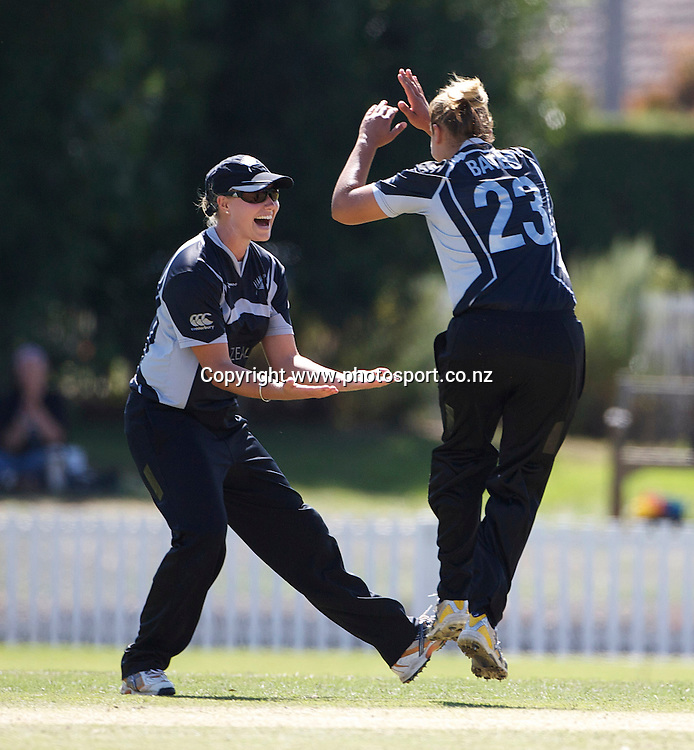 Sydney-March 12: Suzie Bates is congratulated after bowling Charlize van der Westhuizen first ball  during the South Africa  V New Zealand group A match at Bradman Oval in the ICC Women's World Cup Cricket Tournament, in Bowral, Australia on March 12, 2009. New Zealand won by 199 runs. Photo by Tim Clayton.