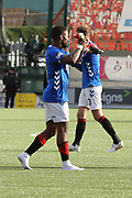 Rangers forward Jermain Defoe (9) celebrates winning and carrys his boots off the field after the Ladbrokes Scottish Premiership match between Hamilton Academical FC and Rangers at New Douglas Park, Hamilton, Scotland on 24 February 2019.