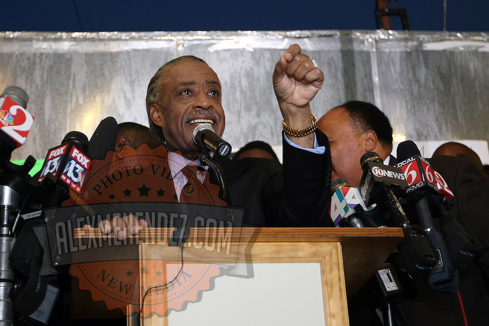 The Reverend Al Sharpton addresses the crowd of supporters during a rally for the shooting of Trayvon Martin on Thursday, March 22, 2012 at Fort Mellon Park in Sanford, Florida. (AP Photo/Alex Menendez) Trayvon Martin rally in Sanford, Florida.