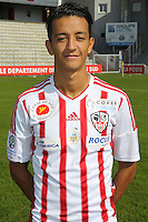 Mouaad Madri during the photocall of Ac Ajaccio for new season on October 17th 2016<br /> Photo : Jean Pierre Belzit / Icon Sport