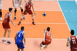 September 12, 2018 - Varna, Bulgaria - Sequiel Sanchez, Puerto Rico safe the ball during Iran vs Puerto Rico, pool D, during 2018 FIVB Volleyball Men's World Championship Italy-Bulgaria 2018, Varna, Bulgaria on September 12, 2018  (Credit Image: © Hristo Rusev/NurPhoto/ZUMA Press)