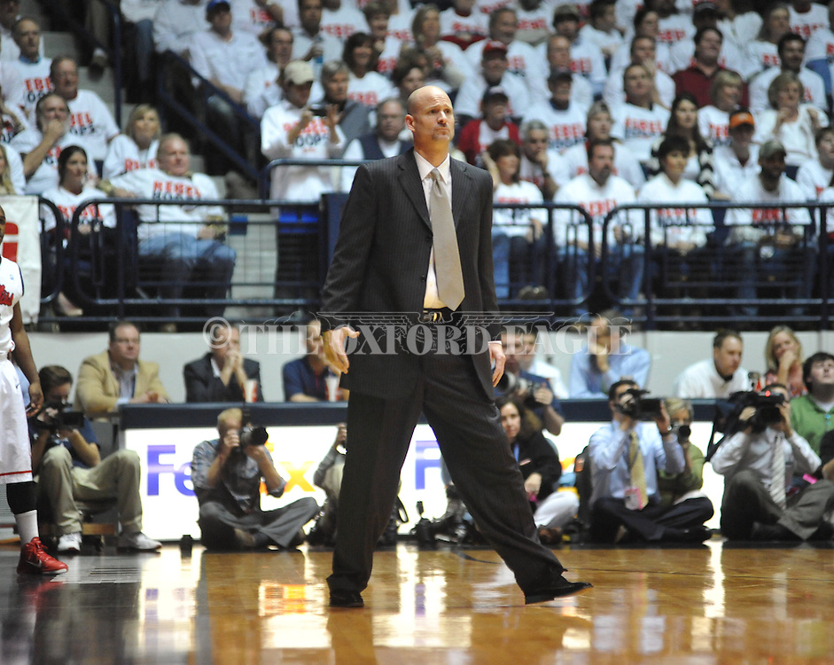 "Ole Miss head coach Andy Kennedy vs. Kentucky at the C.M. ""Tad"" Smith Coliseum on Tuesday, January 29, 2013."