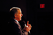 Manchester, New Hampshire, USA, 26.01.2004; An exit sign is glooming in the background as Howard Dean holds a speach at a rally at Palace Theater in Manchester.<br /> <br /> Photo; Orjan F. Ellingvag/ Dagbladet *** Local Caption *** , posted on Corbis web ,