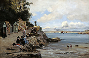 Douarnenez - Women's Bathing Place, Saturday', 1876. Oil on canvas.  Emmanuel Lansyer (1835-1893) French landscape painter.  France Brittany Bathing Hut Rock  Sea Sky Cloud