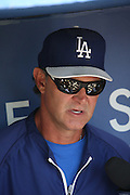 LOS ANGELES, CA - JULY 13:  Manager Don Mattingly #8 of the Los Angeles Dodgers talks to the media before the game against the San Diego Padres at Dodger Stadium on Sunday, July 13, 2014 in Los Angeles, California. The Dodgers won the game 1-0. (Photo by Paul Spinelli/MLB Photos via Getty Images) *** Local Caption *** Don Mattingly