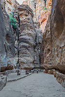 Nabatean, Jordan - May 11, 2013: one person walking on the siq path in Nabatean city of Petra Jordan on may 11th, 2013