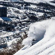 Nick Larson slashes above Rusutsu Resort, Hokkaido Japan