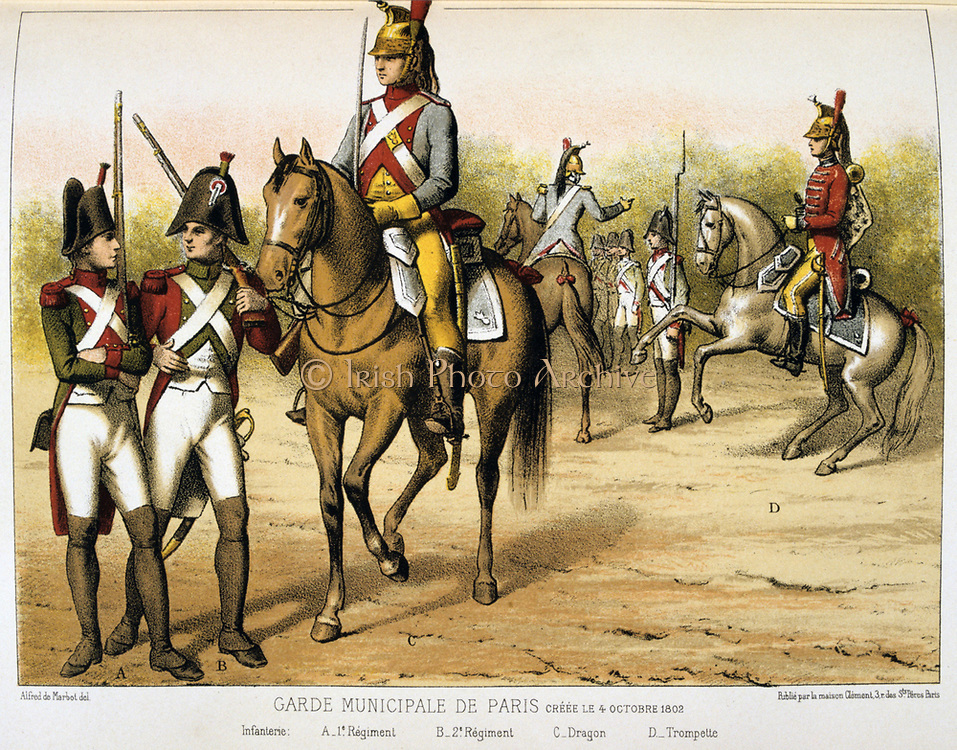 Parisian Municipal Guard, created 1802.   'From Histoire des corps de troupes de la ville de Paris' by Francois Cudet, Paris, 1897. Chromolithograph.
