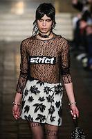 Yana Bovenistier walks the runway wearing Alexander Wang Fall 2016 during New York Fashion Week on February 13, 2016