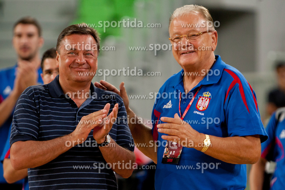 Zoran Jankovic, mayor of Ljubljana and Dusan Ivkovic of Serbia during friendly basketball match between National teams of Slovenia and Serbia of Adecco Ex-Yu Cup 2012 as part of exhibition games 2012, on August 5, 2012, in Arena Stozice, Ljubljana, Slovenia. (Photo by Urban Urbanc / Sportida)