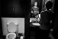WASHINGTON, DC - APRIL 18:  During her first week at the helm of the Interior Department, Secretary of the Interior Sally Jewell stands in the bathroom within her office practicing delivering a speech, on Thursday April 18, 2013. (Photo by Melina Mara/The Washington Post)