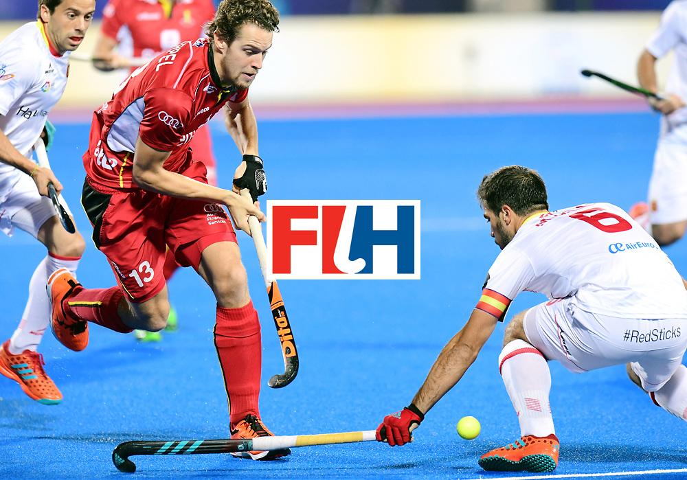Odisha Men's Hockey World League Final Bhubaneswar 2017<br /> Match id:18<br /> Belgium v Spain<br /> Foto: Nicolas de Kerpel (Bel) in dual with Miguel Delas (Esp) <br /> COPYRIGHT WORLDSPORTPICS FRANK UIJLENBROEK