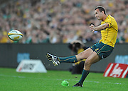 Quade Cooper with the sideline conversion of Luke Burgess's 1st half try during action from the Rugby Union Test Match played between Australia and Ireland at Suncorp Stadium (Brisbane) on Saturday 26th June 2010 ~ Australia (22) defeated Ireland (15) ~ © Image Aura Images.com.au ~ Conditions of Use: This image is intended for Editorial use as news and commentry in print, electronic and online media ~ Required Image Credit : Steven Hight (AURA Images)For any alternative use please contact AURA Images