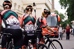 Parkhotel Valkenburg Cycling Team riders prepare for the Prudential RideLondon Classique, a 68 km road race starting and finishing in London, United Kingdom on August 3, 2019. Photo by Balint Hamvas/velofocus.com