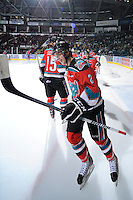 KELOWNA, CANADA, OCTOBER 20: Jesse Lees #2 of the Kelowna Rockets takes part in a pre-game ritual as  the Vancouver Giants visited the Kelowna Rockets on October 20, 2011 at Prospera Place in Kelowna, British Columbia, Canada (Photo by Marissa Baecker/shootthebreeze.ca) *** Local Caption *** Jesse Lees;