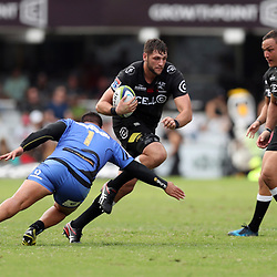 Pek Cowan of Western Force looks to tackle Ruan Botha of the Cell C Sharks during the Super Rugby match between the Cell C Sharks and the Western Force at Growthpoint Kings Park on May 06, 2017 in Durban, South Africa. (Photo by Steve Haag)