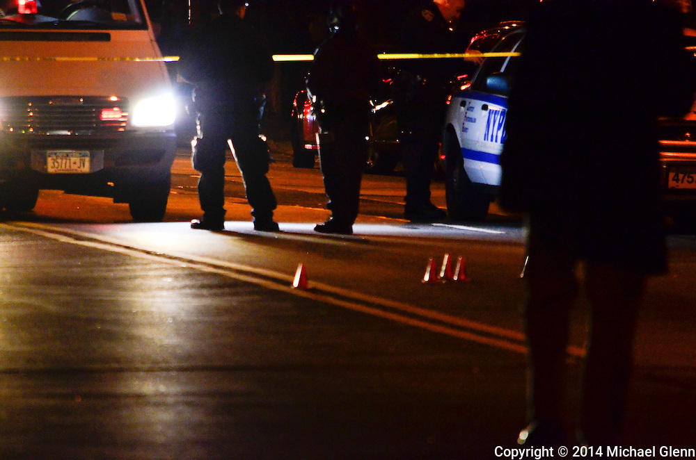 Brooklyn, New York - November 302014:  Crime scene is set up ons the scene of 3 people shot  at 375 Remsen Ave  in New York, New York. Photo Credit: Michael Glenn / For the Daily News