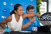 January 07, 2017: China's top ranked player Zhang Shuai (L) was on hand to conduct the draw ceremony for the Apia International Sydney 2017 at Sydney Olympic Park Tennis Centre. (Photo by Hugh Peterswald/Icon Sportswire)