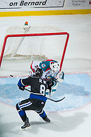 KELOWNA, CANADA - DECEMBER 30: Jeff De Wit #8 of the Victoria Royals scores a shoot out goal on Roman Basran #30 of the Kelowna Rockets on December 30, 2017 at Prospera Place in Kelowna, British Columbia, Canada.  (Photo by Marissa Baecker/Shoot the Breeze)  *** Local Caption ***