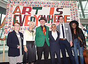 Sadiq Khan, Mayor launches a search for the first ever London Borough of Culture at a ceremony at City Hall, London, Great Britain <br /> 30th June 2017 <br /> <br /> <br /> Justine Simons OBE, Deputy Mayor for Culture and the Creative Industries <br /> <br /> Catherine McGuinness, Policy Chairman at the City of London Corporation <br /> <br /> Stuart Hobley - Head of Heritage Lottery Fund for London <br /> <br /> Sadiq Khan, Mayor London <br /> <br /> Bob and Roberta Smith <br /> <br /> The launch moment was marked by the unfurling of a 4 metre long artwork/banner painted by artist Bob and Roberta Smith especially for the launch.<br /> <br /> <br /> Photograph by Elliott Franks <br /> Image licensed to Elliott Franks Photography Services