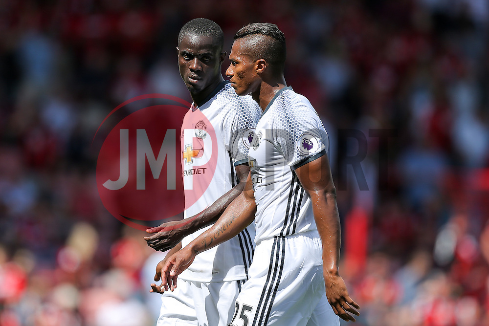 Eric Bailly and Luis Antonio Valencia of Manchester United talk at half time - Rogan Thomson/JMP - 14/08/2016 - FOOTBALL - Vitality Stadium - Bournemouth, England - Bournemouth v Manchester United - Premier League Opening Weekend.