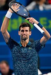 Novak Djokovic of Serbia celebrates his win over Damir Dzumhur of Bosnia during their first round of ATP Qatar Open Tennis match at the Khalifa International Tennis Complex in Doha, capital of Qatar, on January 01, 2019. Djokovic  won 2-0  (Credit Image: © Nikku/Xinhua via ZUMA Wire)