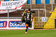 Morecambe FC Forward Tom Barkhuizen scores during the Sky Bet League 2 match between Carlisle United and Morecambe at Brunton Park, Carlisle, England on 10 October 2015. Photo by Craig McAllister.