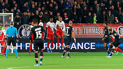 23-11-2019 NED: FC Utrecht - AZ Alkmaar, Utrecht<br /> Round 14 / Teun Koopmeiners #8 of AZ Alkmaar scores 1-0, Mark van der Maarel #2 of FC Utrecht, Jean-Christophe Bahebeck #9 of FC Utrecht, Gyrano Kerk #7 of FC Utrecht, Sean Klaiber #17 of FC Utrecht