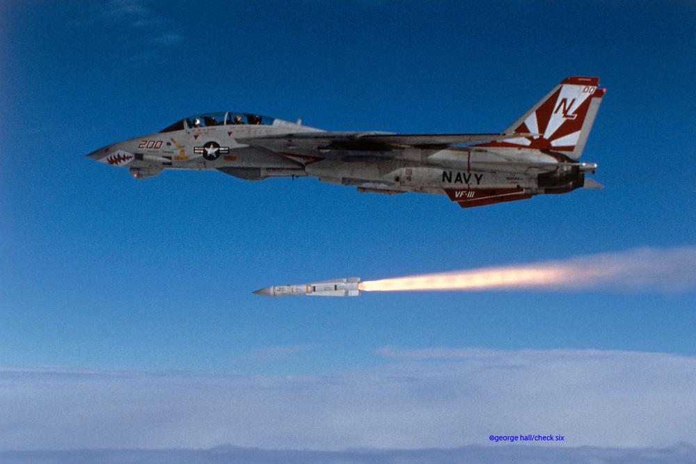 F-14A, VF-111 Sundowners, firing Phoenix AIM-54