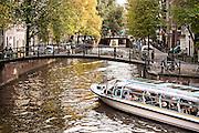 Melkmeisjesbrug or Milk Maid Bridge over Brouwersgracht canal in historic Jordaan, section in Amsterdam.