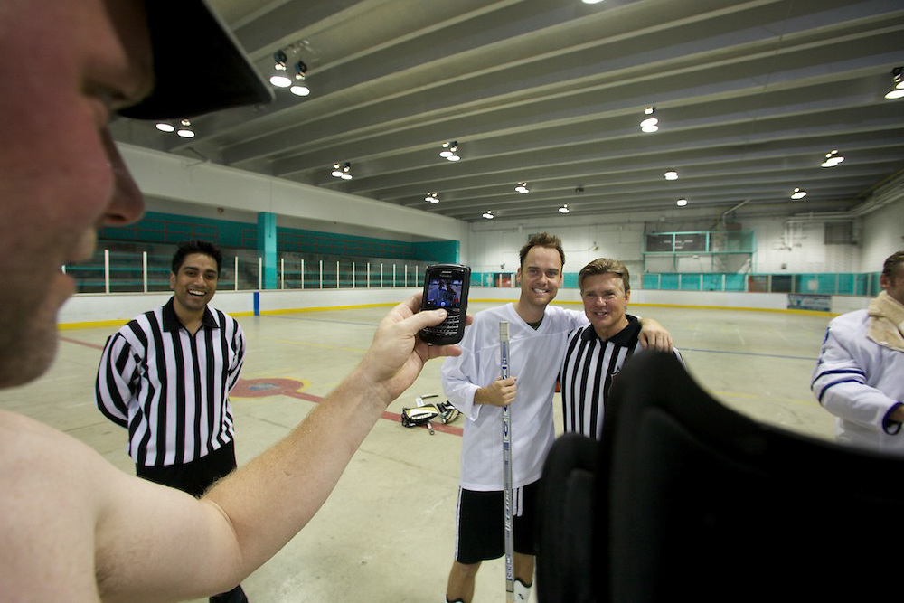The annual Artist vesus Industry Ball Hockey game took place on July 30th, 2011. Legendary NHL referee Kerry Fraser was in attendance and reffed the game. The Artists beat Industry 8-6, though some found the proximity of some artists to Fraser during key points a little suspicious...The arena was supplied by the local Westmount YMCA and money was collected to help the YMCA's families in needs program.