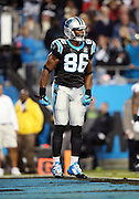 Carolina Panthers tight end Brandon Williams (86) yells and celebrates after catching a fourth quarter touchdown pass subsequently reviewed and reversed, the score would have cut the New Orleans Saints lead to 21-14,  during the NFL week 9 regular season football game against the New Orleans Saints on Thursday, Oct. 30, 2014 in Charlotte, N.C. The Saints won the game 28-10. ©Paul Anthony Spinelli
