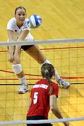 28 AUG 2009: Libero Kasey Mollerus digs out a serve. The Redbirds of Illinois State defeated the Runnin' Bulldogs of Gardner-Webb in 3 sets during play in the Redbird Classic on Doug Collins Court inside Redbird Arena in Normal Illinois