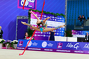 Averina Dina during final at ribbon in Pesaro World Cup at Adriatic Arena on 15 April 2018.Dina is the 2017 and 2018 World All-around Champion. She was born on August 13, 1998 in Zavolzhye, Russia. Dina has a twin sister ,Arina is also herself a great gymnast