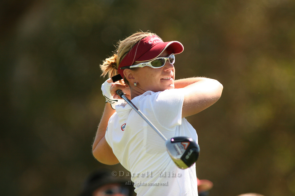 March 26, 2005; Rancho Mirage, CA, USA;  Annika Sorenstam tees off at the 2nd hole during the third round of the LPGA Kraft Nabisco golf tournament held at Mission Hills Country Club.  Sorenstam shot a 6 under par 66 for the day to lead the field by 5 strokes.<br />Mandatory Credit: Photo by Darrell Miho <br />&copy; Copyright Darrell Miho
