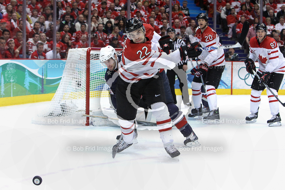 28 February 2010: Canada's Dan Boyle #22 during the Gold medal Hockey Final between the United States and Canada during the Vancouver 2010 Winter Olympics  in Vancouver,  British Columbia, Canada.  Final score in Overtime: Canada 3 - USA 2 - Canada wins the Gold Medal and the USA Silver.